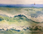 Blue Green Waves Original Watercolor Distant Buoy in Crashing Waves SFA Small Seascape painting Hawaii Art Beach Art Florida Art Watercolour