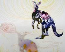 "Original watercolor collage, ""Kangaroos"" - Watercolor cut out, small format art. Noah's Ark animal. Colorful animals."