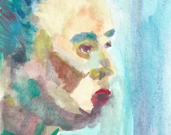 Original Watercolor Portrait Painting/ Illustration- I am not Sick