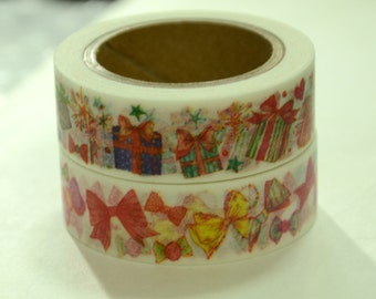 2 rolls of Japanese Washi Tape Roll- Gifts and Ribbons