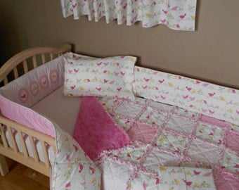 Baby Pink Pottery Barn Fabric PENELOPE Bird Crib Bedding Set Rag Quilt Valance Sheet Skirt Pillow Case