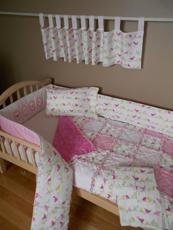 Baby Pink Pottery Barn Fabric Penelope Bird Crib Bedding Set