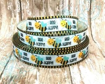 7/8 Bee Happy Grosgrain Ribbon, 5 yards