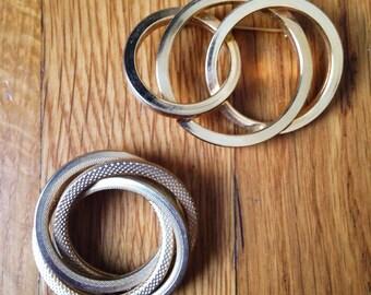 Set Of Two Gold Circular Pins 1990s