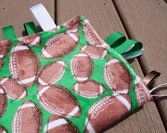 Football Sensory Ribbon Tag Blanket with Green Backing