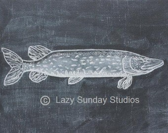 Northern Fish Chalkboard Print 5x7 - Woodland Nursery Print- Nature Inspired Art