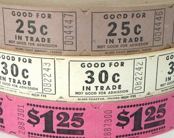 50 Vintage Tickets - Pick Your Combo - Purple, White, Pink Carnival Raffle Tickets - Girlie Girl Mix - Small Paper Ephemera - Embellishments