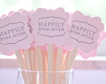Wedding Drink Stirrers-Engagement Party - Stir Sticks- Coffee Stirrers-Drink Stirrers-Signature Drinks-Happily Ever After- Set of 50