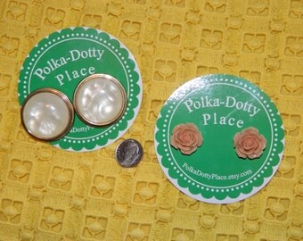 Vintage Button Earrings & Blush Rose Earrings