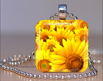 YELLOW SUNFLOWERS Spring Summer Garden Floral Flowers Glass Tile Pendant Necklace Keyring