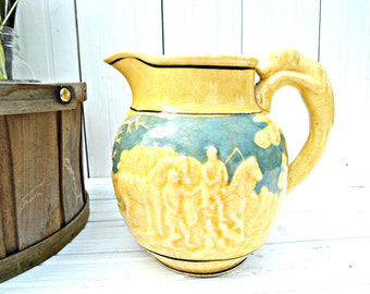 Vintage Japan Hound Pitcher - yellow and blue pitcher vase with dog handle and horse hunt scene