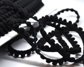 BLACK 5 yards mini pom pom fringe - trim - baby pom fringe - halloween - sewing - papercraft - diy - party favor - gift wrap