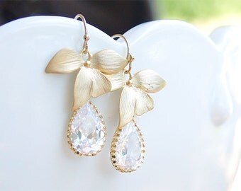 Flower Blossom and Cubic Zirconia Earrings in Gold on Gold FIlled Earwire - Bridesmaid Earrings, Bridal Jewelry - Wedding Earrings