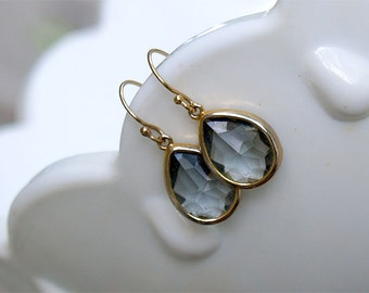 Gray Drop Earrings in Gold - Gold FIlled Earwire - Simple Gray Earrings - Bezel Earrings - Gray Gold Bridesmaid Jewelry, Bridesmaid Earrings
