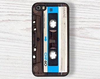 Blue Vintage Cassette Tape iPhone 5S Bumper Case, iPhone se case, iphone 6s case, iPhone 7 case