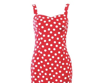Rockabilly Wiggle Dress Red and White Polka Dot