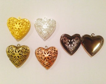 26mm heart metal filigree locket pendant, 1 piece