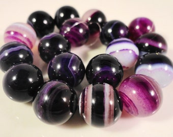 Purple Striped Agate Beads 10mm Round Purple Agate Stone Beads, Agate Gemstone Beads, Dyed Stone Beads on a 7 1/4 Inch Strand with 18 Beads