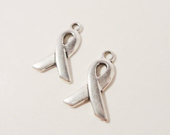 Awareness Ribbon Charms 14x10mm Antique Silver Metal Cancer Awareness Small Ribbon Charm Pendant Jewelry (Jewellery) Making Findings 10pcs