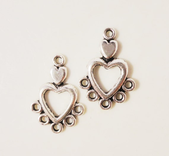 Silver Heart Chandelier Earring Findings 19x13mm Antique Silver Tone Metal Alloy Valentine's Day Heart Connector Jewelry Findings 6pcs