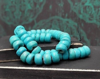 Dyed Turquoise Round Coco Shell Bead - 4-5mm - Tribal Boho - Multi Strand Bead - Natural Organic - Pkg. 50