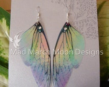 Rainbow Fairy wing earrings, iridescent cicada style with sterling silver ear wires, latch back and clip on version available