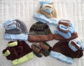 Super Soft Hat and Matching Booties, 0-3 month, crochet, boy