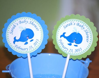 Preppy Blue Whale Cupcake Toppers - Set of 12 Personalized Birthday Baby Shower Party Decorations
