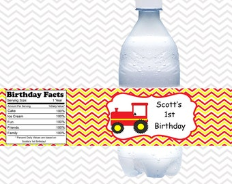 Tractor Red -  Personalized water bottle labels - Set of 5  Waterproof labels
