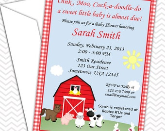 Barn Yard Farm Animals Red Gingham Invitations PRINTABLE - Birthday Party - Baby Shower