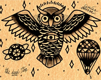 BLACK OWL tattoo flash-second edition of traditional tattoo flash