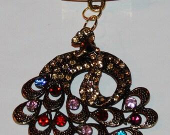 Jeweled Peacock Scarf Slide Multi Colored