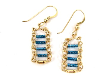 Gold and blue bars earrings