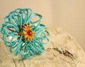 Turquoise Flower Ring- Aqua String Flower Adjustable Ring- Funky!