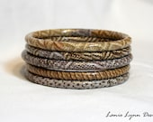 Upcycled Decoupage Bangle Bracelet - Set of 5 in Gray & Brown