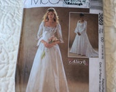 Romantic Wedding Dress Pattern, Alicyn Exclusives, McCalls 3869, Gothic or Medieval Wedding Dress, Uncut, Size 12 to 18