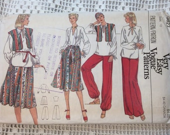 Vogue Boho Chic Wardrobe Pattern, Vogue 9827, Pants, Top, Vest and Skirt, Very Easy Vogue, Size 10