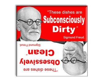 "Clean Dirty Dishwasher Magnet 2.5"" x 2.5"" Sigmund Freud"
