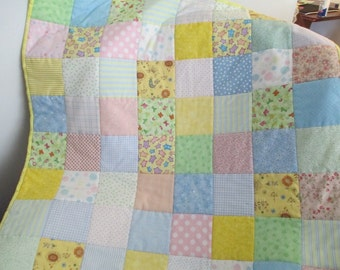 Patchwork Baby Quilt Multi Colored Pastels with Yellow Backing