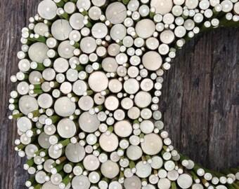 Spring wreath - Wood Slice Wall decoration - Wood Slice centerpiece - Wood Wall art - Wood Slice  art  Winter wreath - Circle