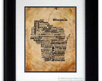 Fathers Day gift for him WISCONSIN State Housewarming Gift Unique Vintage Style Typography Poster birthday gift for him, modern room
