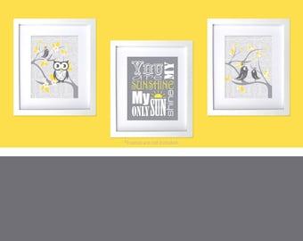 Gray and Yellow Nursery Art You are my sunshine Baby Boy Girl Yellow Gray Room Decor Modern Baby Nursery Unisex Damask Floral Tweet Birds