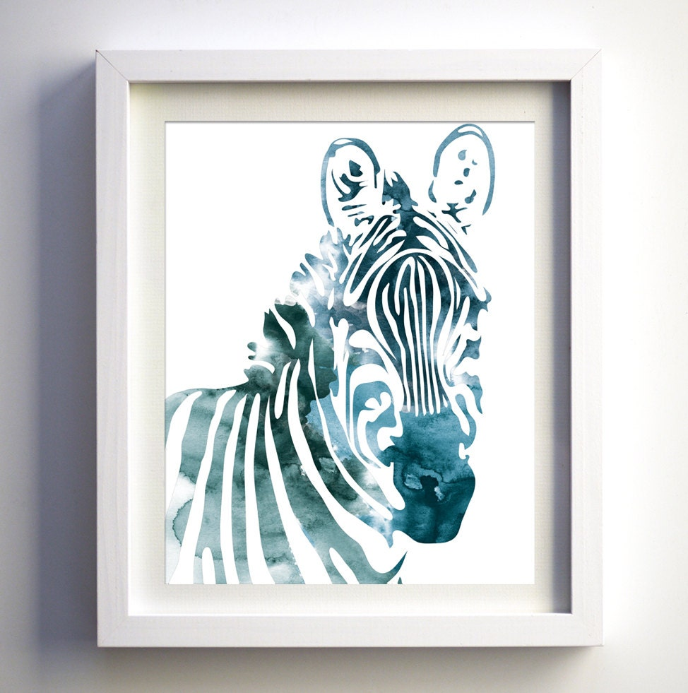 Teal Zebra Art Print Watercolor Zebra Modern Animal Wall