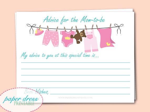 INSTANT Download - Baby Shower Clothesline Advice Cards - Pink - Printable PDF