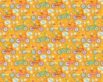 Riley Blake Girl Crazy by Design by Dani Bikes on Yellow by the Yard