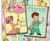 Printable Easter Tags, INSTANT DOWNLOAD, Digital Collage Sheet, Vintage Images for Scrapbooking, Labels, Cards. atc aceo