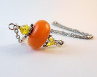 Handmade Orange Glass Lampwork Beaded Necklace, Simple Orange Lampwork Necklace, Dainty Lampwork Necklace, Silver Fall Lampwork Necklace