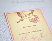 Pink Stork Invitation - Vintage Style Baby Shower Invitations