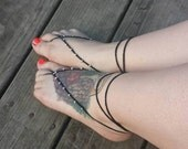 Black & gold Oriental barefoot sandals - Feet Accesories - Summer - Footwear - nude shoes sandles - foot jewelry, yoga, beach