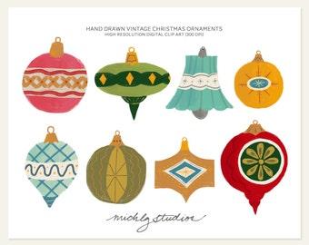 8 Hand Drawn Vintage Christmas Ornament digital clip art